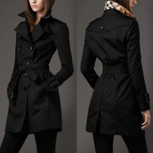 Edgy Black Trench Coat Detective Dress Jacket